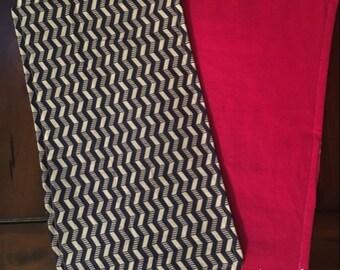 Baby Burp Cloth Navy Blue/White Stripe Chevron With Dark Pink Back