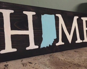 HOME Sign // Wood Sign // Baby Blue Indiana