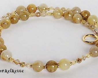 Gemstone Chain Necklace Gemstone Jewelry Rutilquarzperlen Gold golden yellow pearl citrine Precious Necklace