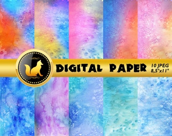 Rainbow Watercolor Digital Paper,Watercolor Scrapbook Paper,Watercolor Background,Watercolor Backdrop,digital paper,scrapbooking paper