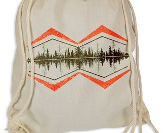 Forrest lines - Gymsac gym bags - tote bag hipster sport bag backpack bag wood Wald forest music