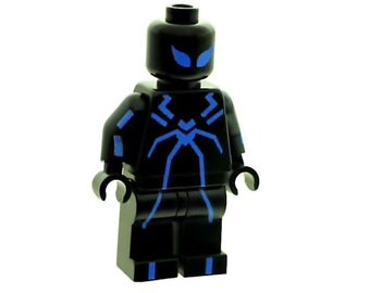 Custom Designed Minifigure - Spider Man in Stealth Blue Suit Printed On LEGO Parts