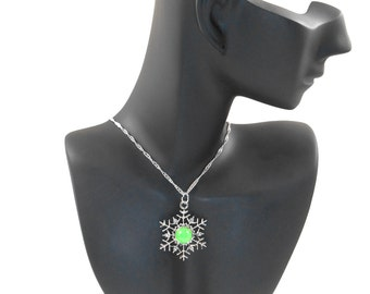 Glow in the Dark Jewelry - Pre Teen Gift - Glowing Pendant - Snowflake Necklace - Glowing Green Necklace - Zirconias - Sterling Silver