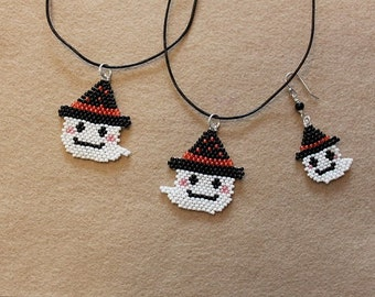 Halloween Beaded Necklace and earrings