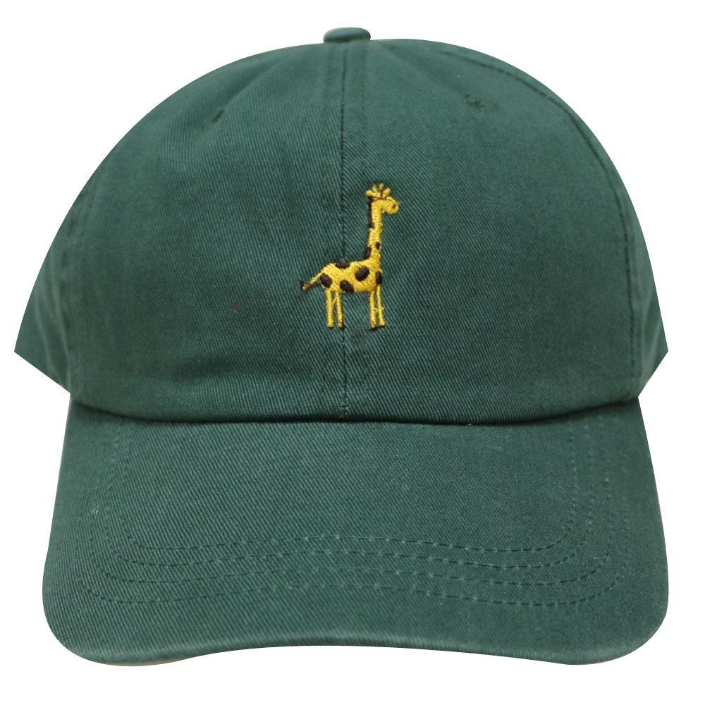 Capsule Design Giraffe Embroidered Cotton Baseball Dad Cap Dark Green