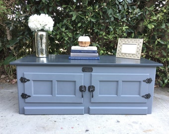 Items Similar To Refinished White Clad Ice Box End Tables Nighstands Antiqued Blue Sold On