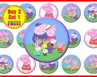 Peppa Pig Bottle Cap Images - Bottle Cap Images - Instant Download - High Resolution Images - Buy 3, Get 1 FREE