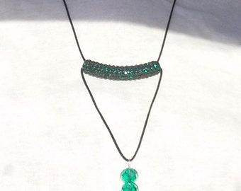 Minimalist sparkling green necklace