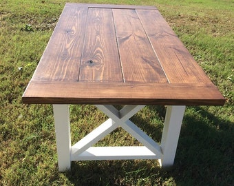Farmhouse Table | Dining Table | Solid Wood Table | Harvest Side X Table