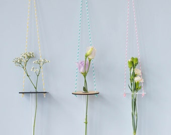 Hanging Vase - Minimal Hanging Vase, Test Tube Vase, Perspex, Wood, Party Decoration, Wedding Decor, Single Stem Vase