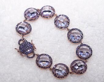 Vintage Swarovski Crystal Bracelet Rose Gold Plated Purple Art Deco Mint!