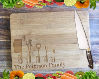 Utensil Family Board - Personalised Engraved Bamboo Chopping Board