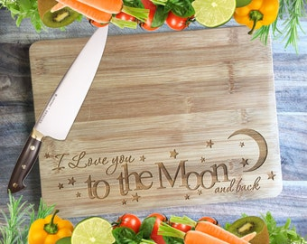 I Love You to the Moon & Back - Personalised Engraved Bamboo Chopping Board