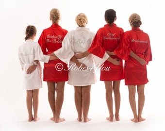 Red & Ivory satin silky feel bridal robes with Silver Glitter