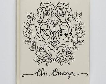 Chi Omega Sorority Crest Stationery Note Cards