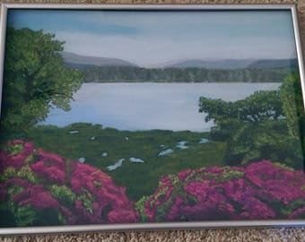 Original pastel painting Costa Rican landscape with purple flowers - submitted to exhibition
