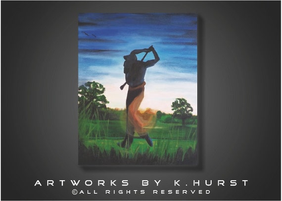 Modern Original Sillouette of man golfing, Golf Club-Great gift for a man's office blue black and green