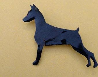 Doberman Pinscher Pin- Black Silhouette