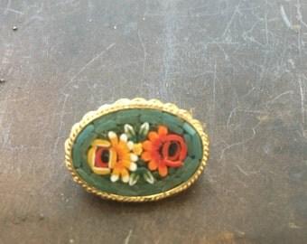Vintage Italian mosaic pin brooch green yellow orange flowers floral oval