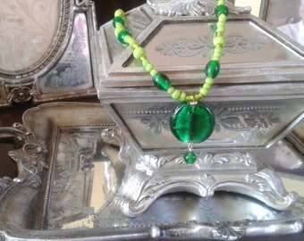 Unique stunning green glass pendant necklace