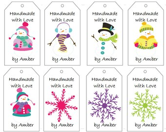 Snowmen and Snowflakes Gift Tags- PDF File