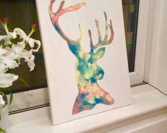 Unique Hand Painted Modern Stag Head – Original Painting -  Acrylic on Canvas – Made to Order - Rustic Art