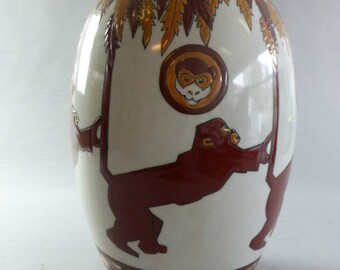 Monkeys KERALOUVE vase style Art Deco La Louvière monkey jungle book vase