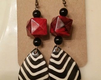 Bone bead earrings.