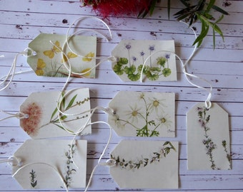 Handmade Gift Tags from Vintage Book Australian Native Flowers set of seven