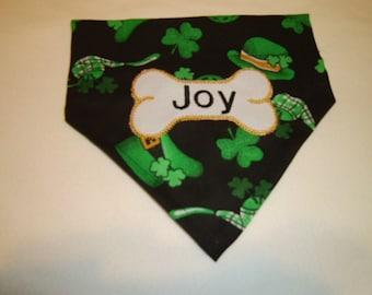 Dog Bandana, St. Patrick Day, Over the Collar, Leprechaun, bone, Personalized,  Monogram