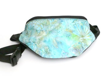Fanny pack Seafoam Batik Blue Fan fabric  - Hip Waist Bag with 2-zippered compartments