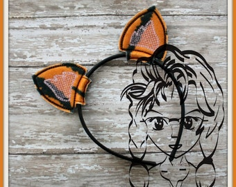 TIGER and or CaT Ears ~ (2 Piece) Character Inspired Headband ~ In the Hoop ~ Downloadable DiGiTaL Machine Emb Design by Carrie