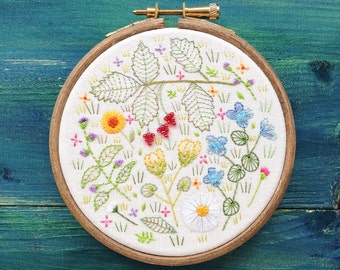 Hand embroidery framed in a hoop, Wildflowers, hoopla, original textile art, hand stitched