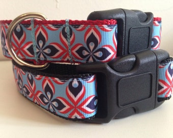 Red, White and Blue Petal Flowers 1 inch Dog Collar