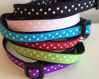1/2 inch Small Polka Dot Dog Collar in Black, Pink, Blue, Red, Green, Purple