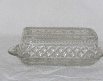 Butter Dish PressedTransparent Glass With Cover Vintage Hostess Kitchen Ware