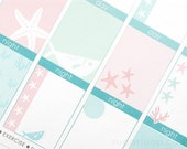 28 underwater planner stickers, decoration kit, mint pink pastel, sea, coral, summer, star, fish, beach, ocean, holiday, tropical, UWR1
