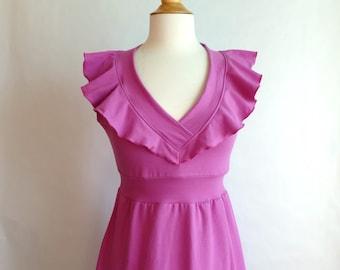 SALE Size XLarge Fuchsia Pink Womens Vneck Dress, Empire waist dress, sundress, Party Dress, Ruffle Collar knee length dress - Ready to Ship