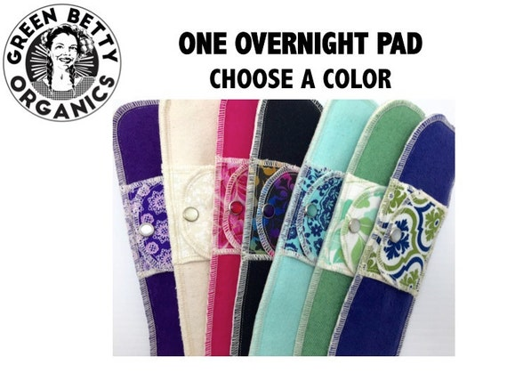 Organic Overnight Moonpads  Washable Reusable Cotton Fabric Cloth Menstrual Pads - Choose a Color