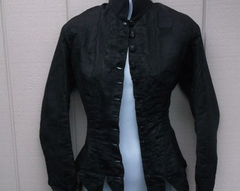 Antique 1800's Black Mourning Jacket  - Blouse or shirt / top / Victorian Steampunk // Size xs ~ 30 bust