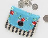 Coin Pouch Purse | Turquoise Floral Fabric Change Pouch
