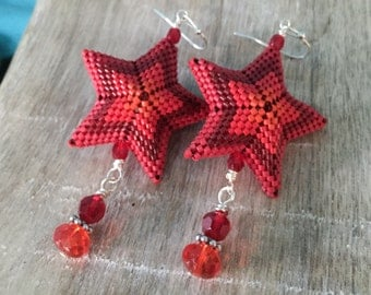 But Sirious-ly - Red Ombre 3D Star Earrings