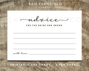 Advice for the Bride and Groom Cards | Wedding Advice Cards | Modern | BROOKE Collection | Printable, Instant Download PDF file