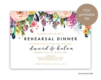 Rehearsal Dinner Invitation | Engagement Party Invite |  Printable Invitation | Floral - PDF File