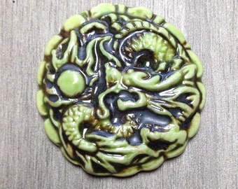 Large Dragon Ceramic Cabochon Stone in Acid Lime