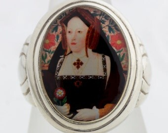 Catherine of Aragon Tudors Royalty Sterling or Bronze Ring (Sizes 5-14 w/ half sizes)