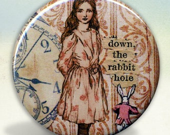 Alice Wonderland Down The Rabbit Hole Pocket Mirror