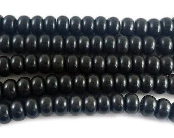 Black Howlite Rondelle Gemstone Beads