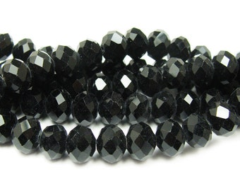 Black Glass Faceted Rondelle Beads