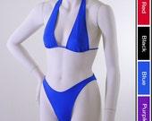 80s Brazilian Bikini Bottom with Super High Leg and Sliding Halter Top in Royal Blue, Red, Black, or Purple in Custom Bra Sizes